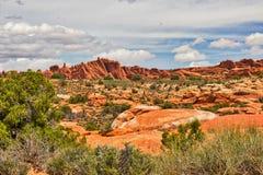 Roches rouges de désert dans Moab Photos stock