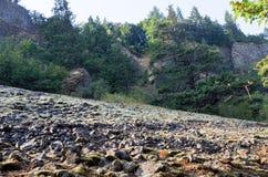 Roches tombées, Eagle Creek, gorge de Colombie, Orégon Photographie stock libre de droits