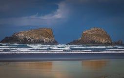 Roches volcaniques sur la plage Image stock