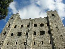 Rochester castle 1. Rochester castle keep looking up from the moat Royalty Free Stock Photo