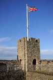 Rochester Castle. Battlements on the Banks of the Rver Medway in Kent England Stock Images