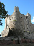 Rochester castle 3. Rochester castle keep looking from three quarter view from the moat Stock Photo