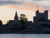 Rochester castle and cathedral. Sunrise over rochester castle and cathedral in kent Royalty Free Stock Image