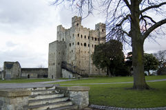Rochester Castle at dusk, Kent, UK royalty free stock photo