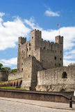 Rochester Castle 12th-century. Castle and ruins of fortifications. Kent, South East England. ROCHESTER, UK - MAY 16, 2015: Rochester Castle 12th-century. Castle Stock Photography