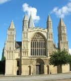 Rochester cathedral 1. Rochester cathedral from the front showing the main entrance Royalty Free Stock Image