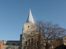 Rochester Cathedral, Kent, United Kingdom. On a clear and sunny day royalty free stock image