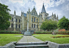 Rochester Cathedral. With war memorial in foreground Royalty Free Stock Photo