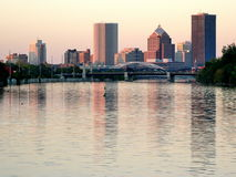Rochester downtown. And the Genesee river by sunset Stock Image