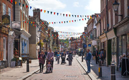 Rochester high street at weekend. People walking through the street, passing cafes, restaurants Stock Photography