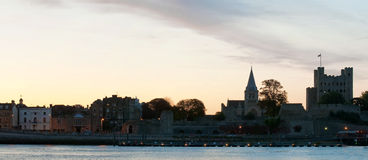Rochester in Kent. A panoramic view of the break of dawn over the city of rochester in kent Stock Photo