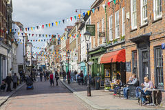 Rochester in Kent, UK. ROCHESTER, UK - APRIL 22ND 2017: A view down the High Street in the historic city of Rochester in Kent, UK, on 22nd April 2017 Royalty Free Stock Photography