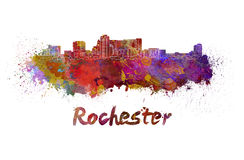 Rochester MN skyline in watercolor Royalty Free Stock Photos