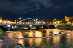 Free Rochester New York Along The Genesee River At Night Royalty Free Stock Photos - 118805808