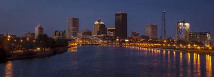Rochester New York Downtown. Downtown Area Rochester New York genesee river night blue hour Frederick Douglass–Susan B. Anthony Memorial Bridge Royalty Free Stock Photos