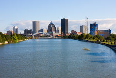 Rochester, New York State. Skyscrapers next to a river in Rochester Royalty Free Stock Photo