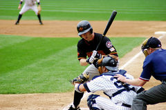 Rochester Red Wings Batter. Waits for the umpire's call Royalty Free Stock Photos