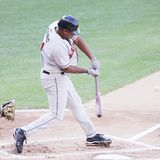 Rochester Red Wings batter Delwyn Young Stock Photo