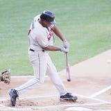 Rochester Red Wings batter Delwyn Young. Swings Stock Photo