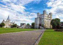 Rochester-Schloss und Kathedrale, England Lizenzfreies Stockfoto