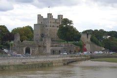 Rochester slott och flod Medway, England Royaltyfri Fotografi