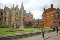 ROCHESTER, UK - APRIL 14, 2017: View of the Cathedral from High Street with Spring colors Stock Photography