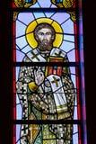 Rochester USA Juni 17, 2018 Sankt basilika på ett målat glassfönster Ukrainsk grekisk katolsk kyrka av epiphanyen Royaltyfria Bilder