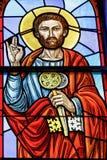 Rochester USA Juni 17, 2018 St Peter på ett målat glassfönster Ukrainsk grekisk katolsk kyrka av epiphanyen Arkivfoton