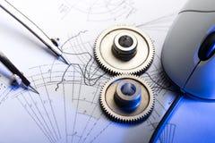 Rochets mécaniques dans le bleu Image libre de droits
