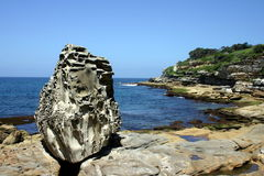 The Rock. Eroded rock next to bondi beach sydney australia Stock Photography