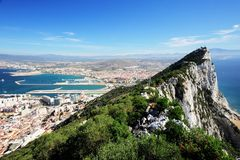 The Rock. The Famous Rock towards Spain - Gibraltar Royalty Free Stock Photos