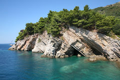 Rock. Adriatic sea coast. Perovac na moru. Montenegro Stock Images