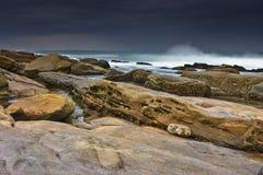 The Rock. Rocky shore and beach of Umhlanga near Durban Royalty Free Stock Photo