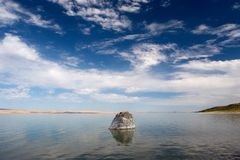 Rock, Abert Lake 2. Photograph of Abert Lake in South-Central Oregon, USA stock image