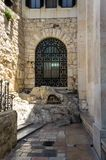 The rock of agony in Jerusalem, Israel. The rock of agony in Church of All Nations. Jerusalem, Israel stock image