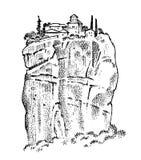 Rock in ancient Greece. Greek Ruins, landscape in vintage style. Hand drawn engraved vintage sketch for poster, banner. Or web site vector illustration