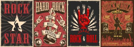 Free Rock And Roll Colorful Posters Royalty Free Stock Image - 173964446