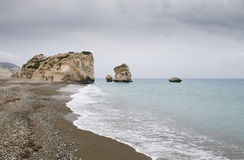 Rock of Aphrodite beach, Paphos Stock Photos