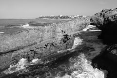 Rock Arch and Lighthouse, Biarritz Royalty Free Stock Image