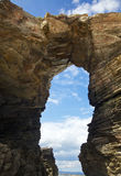 Rock arch at Playa de las Catedrales Royalty Free Stock Image