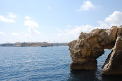 Rock Arch in Valletta Stock Images