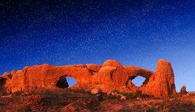 Rock Arch Windows at Night. North and South Windows at night time - Arches National Park, Utah, USA Royalty Free Stock Photos