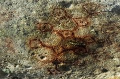 Rock Art. Ancient rock drawings, dound in Aruba caves stock image