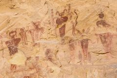 Rock Art of Sego Canyon. Mysterious, perhaps extra-terrestrial figures on a Barrier Canyon Style pictograph on the cliff walls of Sego Canyon Utah Stock Photo