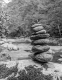 Rock Art. A stack of rocks made into a artform in black_and_White Royalty Free Stock Images