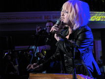 Rock artist Cindy Lauper live performance in Washi. Washington DC January 21, 2013: Rock artist Cindy Lauper performed live at the Out For Equality Inaugural Stock Photography