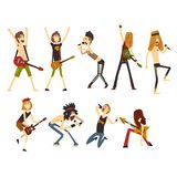 Rock artists characters set. Young musicians with electric guitars and microphones. Cartoon people in different poses. Rock artists characters set isolated on Stock Image