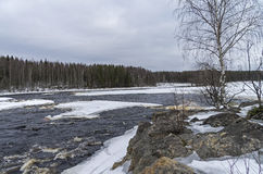 Rock ate the rapids in winter. Karelia, Russia. Stock Images