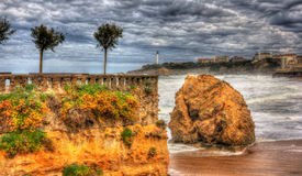 A rock in the Atlantic Ocean near Biarritz Royalty Free Stock Photo