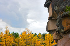 Rock and autumn. Stolby reservation, rock Ded(Grandfather) Stolby is the national park, located near Krasnoyarsk, Siberia, Russia. photos of its rocks are very Stock Photos